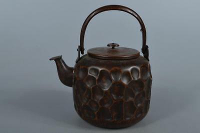 M6525: Japan Finish hammer pattern OLD COPPER BOTTLE Teapot Dobin Tea Ceremony
