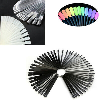 50 Clear False Display Nail Art Fan Wheel Polish Practice Color Pop Tip Stick TR