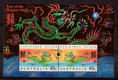 M1778sbs 2000 Australia Christmas Island Year of Dragon MUH Mini Sheet stamp