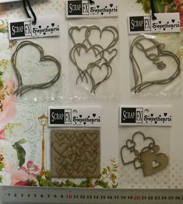 CHIPBOARD Die Cut - HEARTS - SCRIBBLE HEARTS - 5 Style Choice Scrap FX L