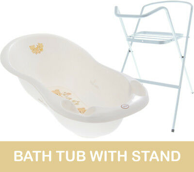 Baby Bath Tub Large 102Cm Thermomether Drain Teddy White + White Stand