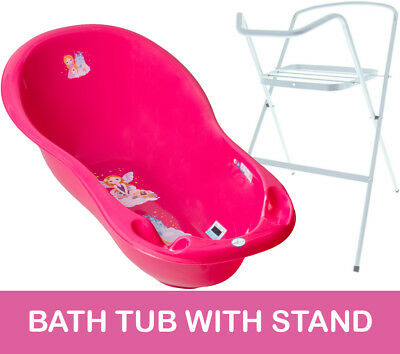 Baby Bath Tub Large 102Cm Thermomether Drain Princess Pink + White Stand