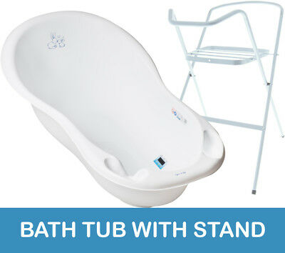 Baby Bath Tub Large 102Cm Thermomether Drain Bunny White + White Stand