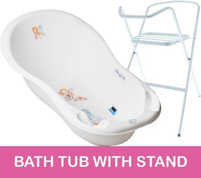 Baby Bath Tub Large 102Cm Thermomether Drain Princess White + White Stand