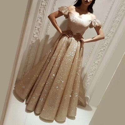 20a072dc11 GOLD GLITTER OFF Shoulder Evening Dress Arabic Dubai Corset A Line Prom  Dresses