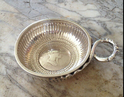 French Silver Tastevin Minerve [Tasse a Vin] 100g with 1807 Coin Insert