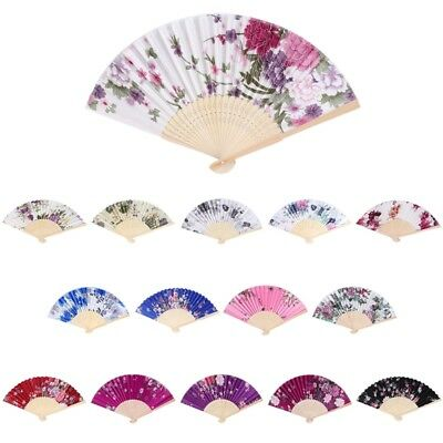 Chinese Bamboo Folding Hand Held Fan Flower Floral Wedding Dance Party Decor
