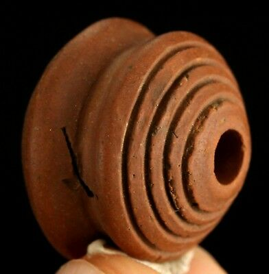Ancient Pre Columbian Moche or Chimu Indian Spindle Whorl Bead 17mm