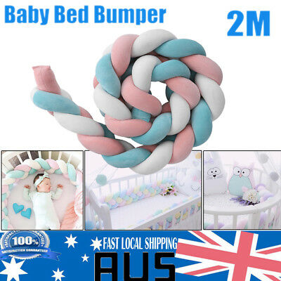 2M Baby Infant Toddler Plush Crib Bumper Bed Cot Braid Pillow Pad Soft Protecter