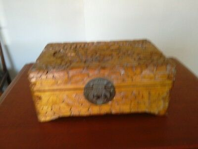 hand carved chinese wooden box