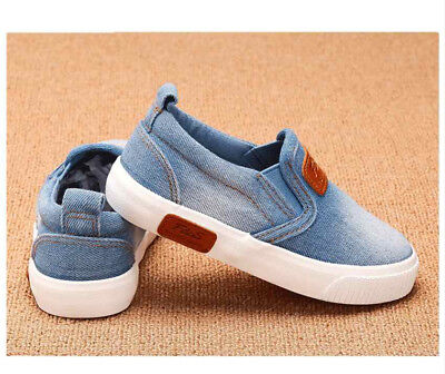 Baby Children Kids Canvas Shoes Boys Girls Sport Sneakers Casual Slip On Loafer
