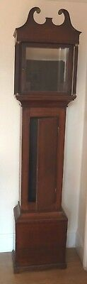 """Early Victorian longcase clock case for 12"""" dial - case only 82"""" by18"""" by 10"""""""