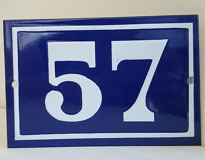 OLD FRENCH HOUSE NUMBER SIGN door gate PLATE PLAQUE Enamel steel metal 57 Blue