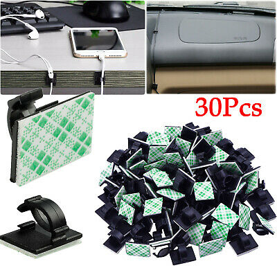 30Pcs Car Wire Tie Rectangle Cord Cable Holder Mount Clip Clamp Self-adhesive US