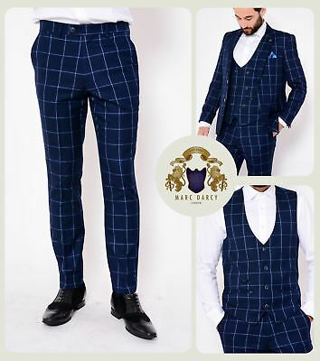 Mens Marc Darcy Check 3/2 Piece Blazer Waistcoat Trousers Slim Fit Jacket