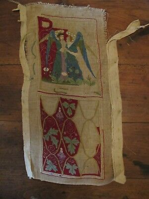 Antique early Victorian embroidery - angel and flowers, leaves - unfinished