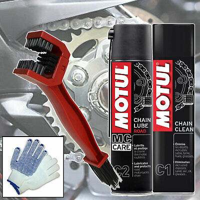 Motul Chain Care Cleaning / Cleaner Lube Brush Kit For Motorbike / Motorcycle