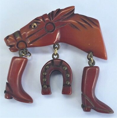 Vintage 1940's Carved Bakelite Horse Head Boots Horse Shoe Brooch Pin Glass Eye