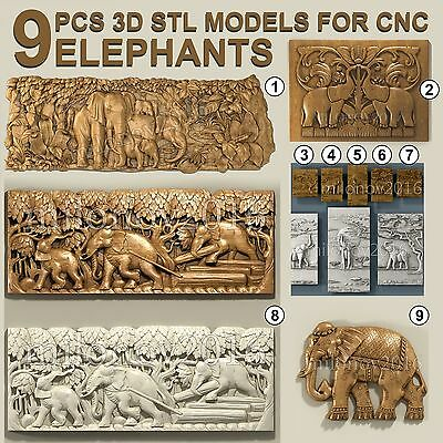 3d STL Model Relief 9 pcs Elephants pack for CNC Router Artcam Aspire