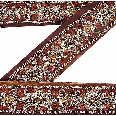 Vintage Sari Border Antique Hand Beaded 1 YD Indian Trim Sewing Brown Zari Lace