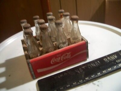 "Miniature Mini Coke Coca Cola 3"" Bottles Clear Glass Wood Case of 12 with Caps"