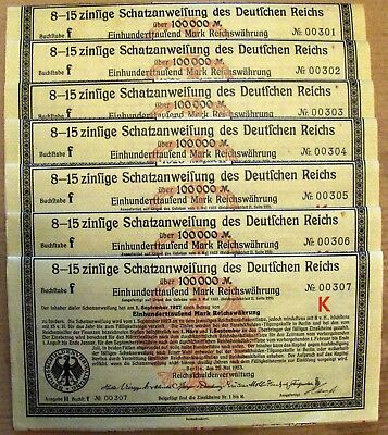 German Treasury 100,000 Marks bond 1923 w/ all coupons x7 in sequence low number