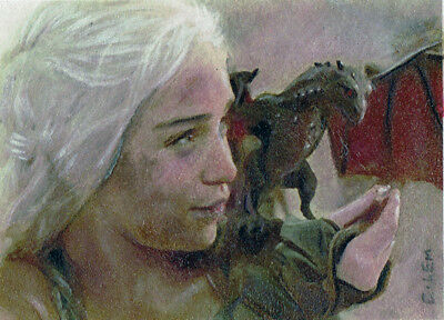 ACEO Daenerys the Mother Game of Thrones  Original Artist C. Lem NOT PRINT
