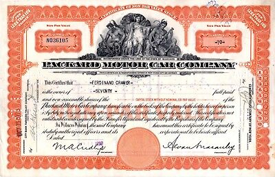 1929 Packard Motor Car Company of Michigan Stock Certificate -orange #36105