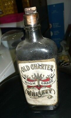 Vintage Whiskey Bottle, Old Charter High Grade Whiskey Front Ad good, no whiskey