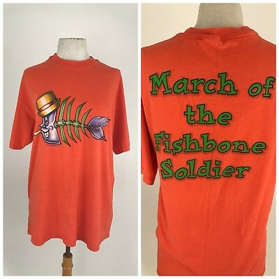 Fishbone Mens T Shirt Band Vintage Large Hanes March Soldier VTG 90s Tee R19
