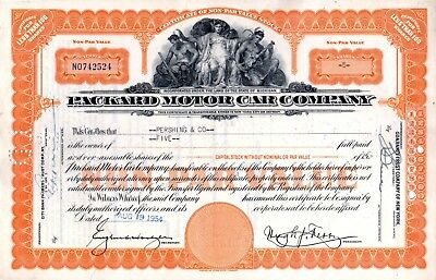 1954 Packard Motor Car Company of Michigan Stock Certificate - orange