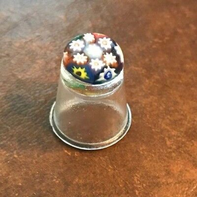 Glass thimble with flowers painted? in top - beautiful vintage millefiori?