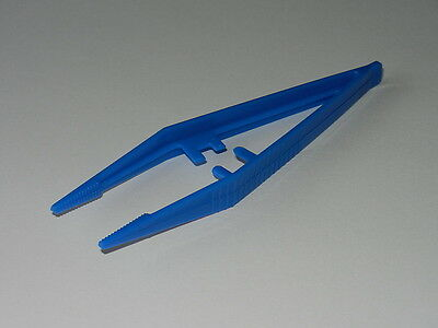 Pk of 10 - Plastic Tweezers 'Suregrip' design - Blue