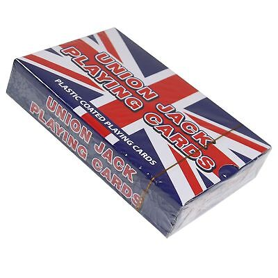 4 x Pack of UNION JACK PLAYING CARDS Plastic Coated Standard Size 8.5cm x 5.5cm