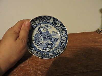 Vintage small blue and white shallow porcelain bowl with rabbit design unmarked