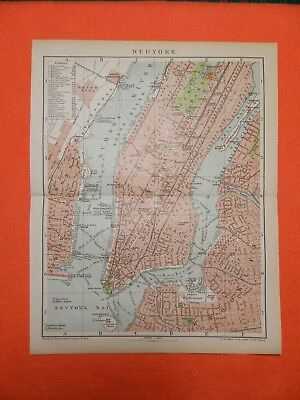 Neuyork New York Manhattan Central Park Hudson Brooklynl  City map 1895