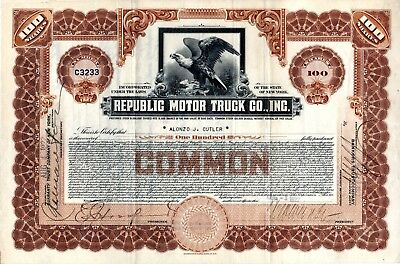 Republic Motor Truck Company of Alma, Michigan - 1922 Stock Certificate
