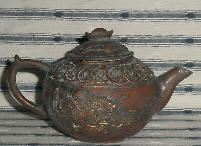 Good Old Chinese Bronze Ingot Bats Coins Small Teapot, Signed