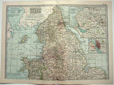 Original 1902 Map of Northern England & Wales by The Century Comapny. Antique