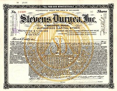 Stevens Duryea Incorporated of Chicopee, Massachusetts 1921 Stock Certificate #2