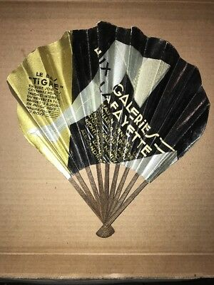 ART DECO 1920s HAND PAPER FAN for AUX GALERIES LAFAYETTE Paris
