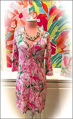 df389a56179b5c LILLY PULITZER ~PALMETTO PINK COLONY FLAMINGO SHIFT DRESS~ Pima Cotton XS 💕