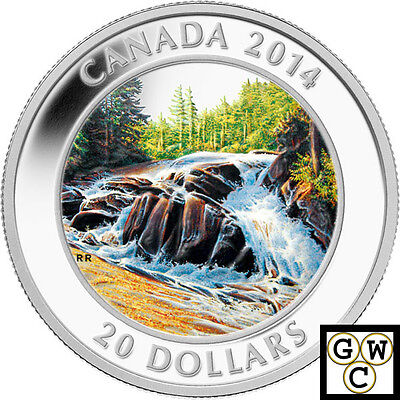 2014 'River Rapids' Colorized Proof $20 Silver Coin 1oz 9999 Fine (13902) (NT)