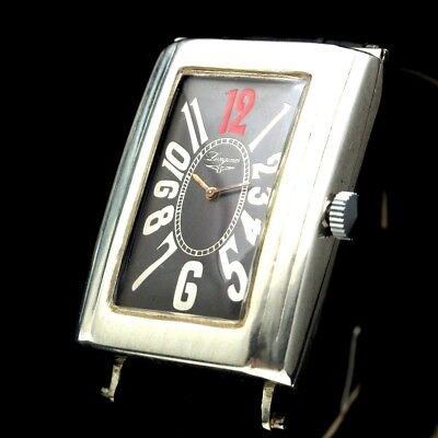 Vintage Mens Wristwatch LONGINES Art Deco Mechanical Silver Black Wrist Watch