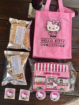 Hello Kitty Cafe Lunch Box, 2 Confetti Popcorn, 2 Pins, 2 Stickers & Gift Tote!