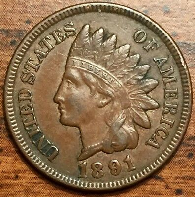 1891 United States Indian Head Cent Coin About Uncirculated Condition