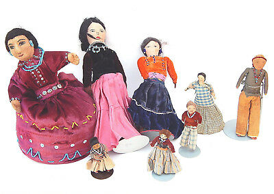 Vtg. Collection of 8 Native American Indian Navajo Rag Doll Trading Route 66 Era