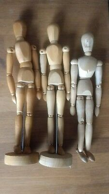 3 wooden artists manikins figure life drawing body sketching