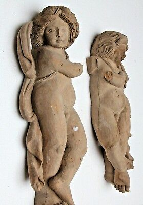Pair Stunning Genuine Hand Carved Wooden Gothic Cherub Nude Sculpture Carvings