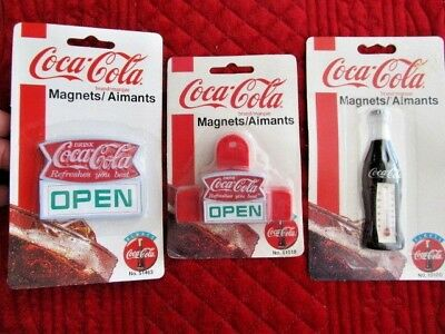 Lot of 3 Vintage Coca-Cola COKE Memo Holders Refrigerator Magnets ~ Thermometer